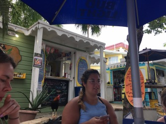 When you're trying to eat conch quesadillas but roosters keep sneaking up on you...